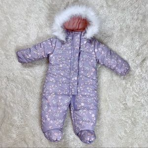 Jessica Simpson Baby Girls Faux Fur Snowsuit Pram